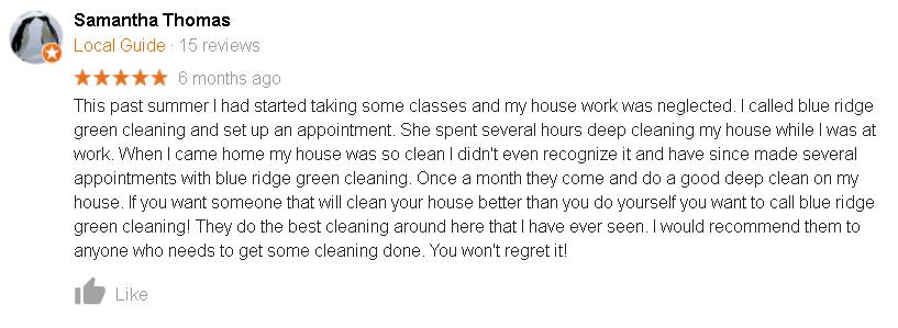 Blacksburg Va House cleaning review